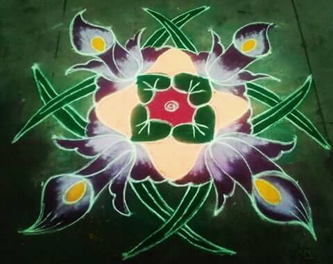 Flower kolam with 9 dots