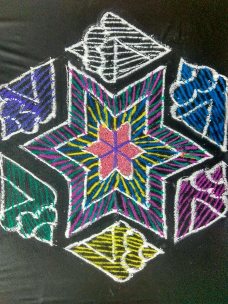 Sangu and Star kolam || 15 dots contest kolam