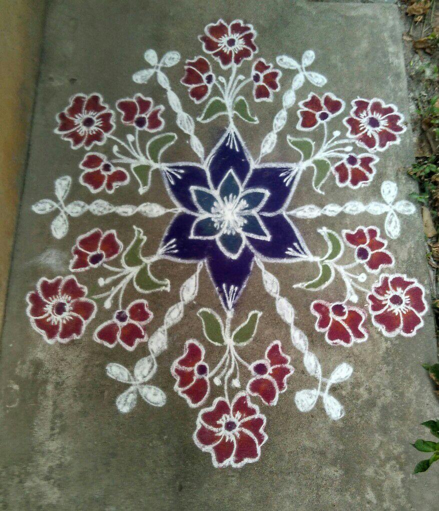 Kolam contest 15 dots || Flower kolam