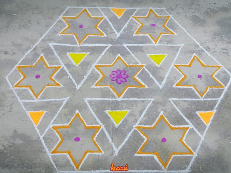 Star Kolam in 15 dots    Contest Kolam