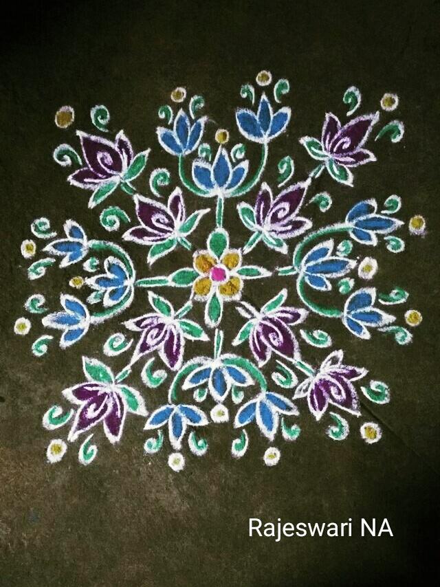 Flower kolam with 15 dots || Symbols of nature