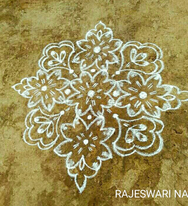 15 dots Flower kolam || Sign of Purity