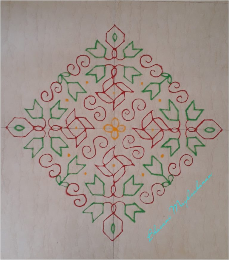 Red and Green kolam with 25 dots || contest kolam