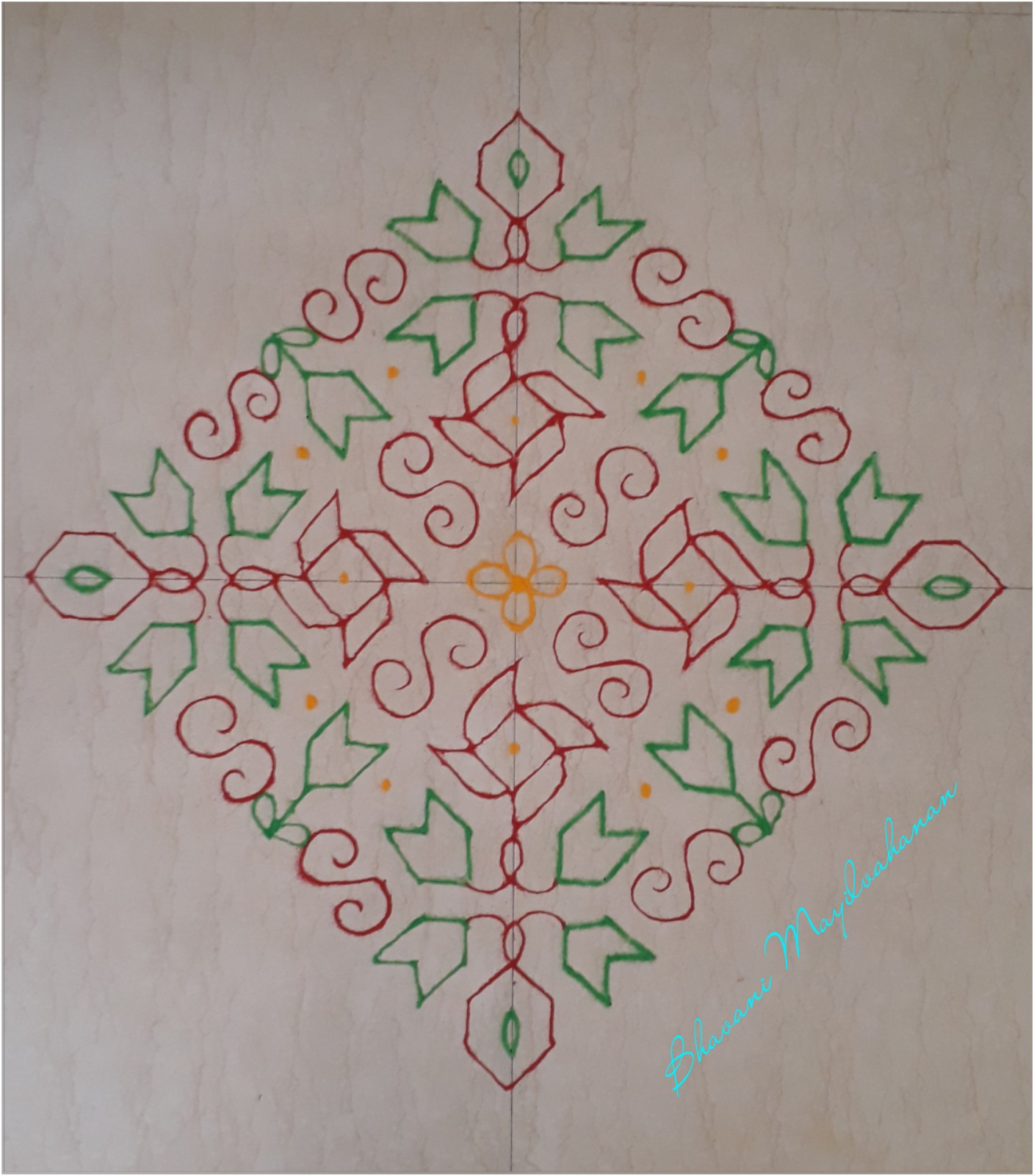 Red and Green kolam with 25 dots    contest kolam