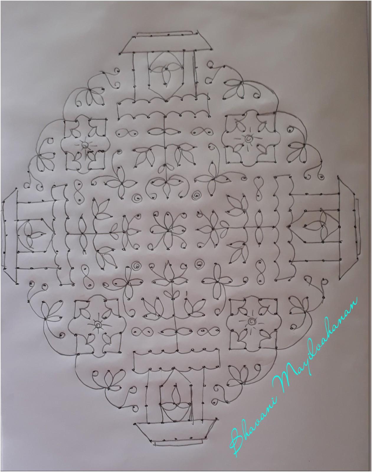 CONTEST KOLAM 3 - துளசி மாடம் || 25 Dots contest Kolam