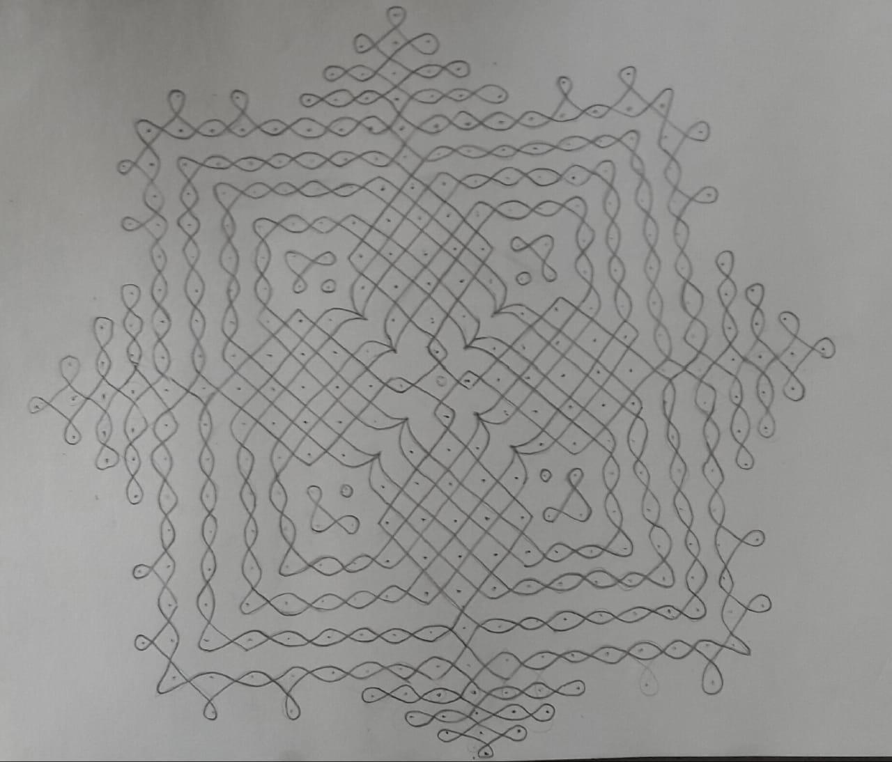 25 Dots Saravilakku Sikku Kolam || Big Kolam
