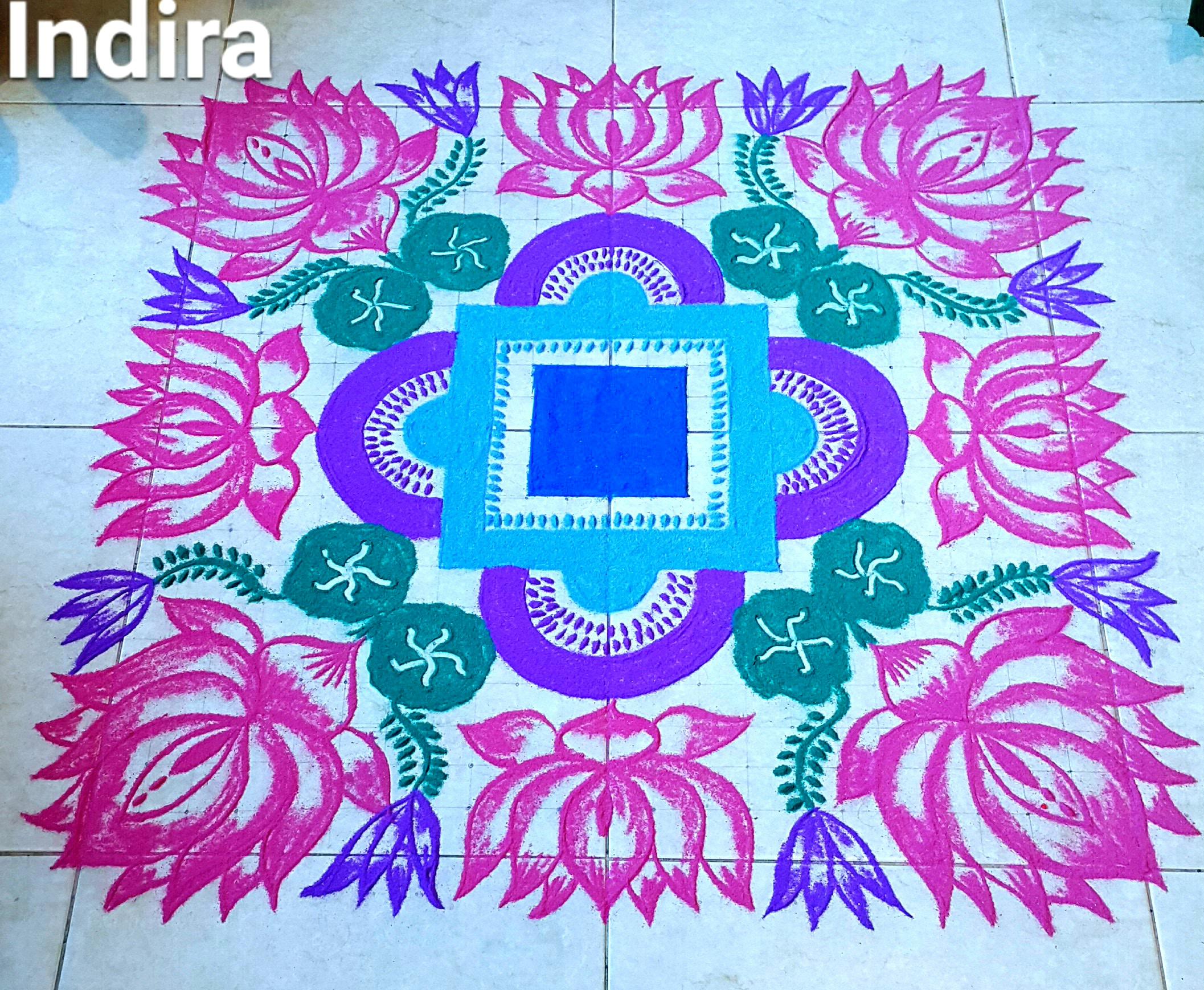 Lotus pond kolam || 25 dots Contest Kolam