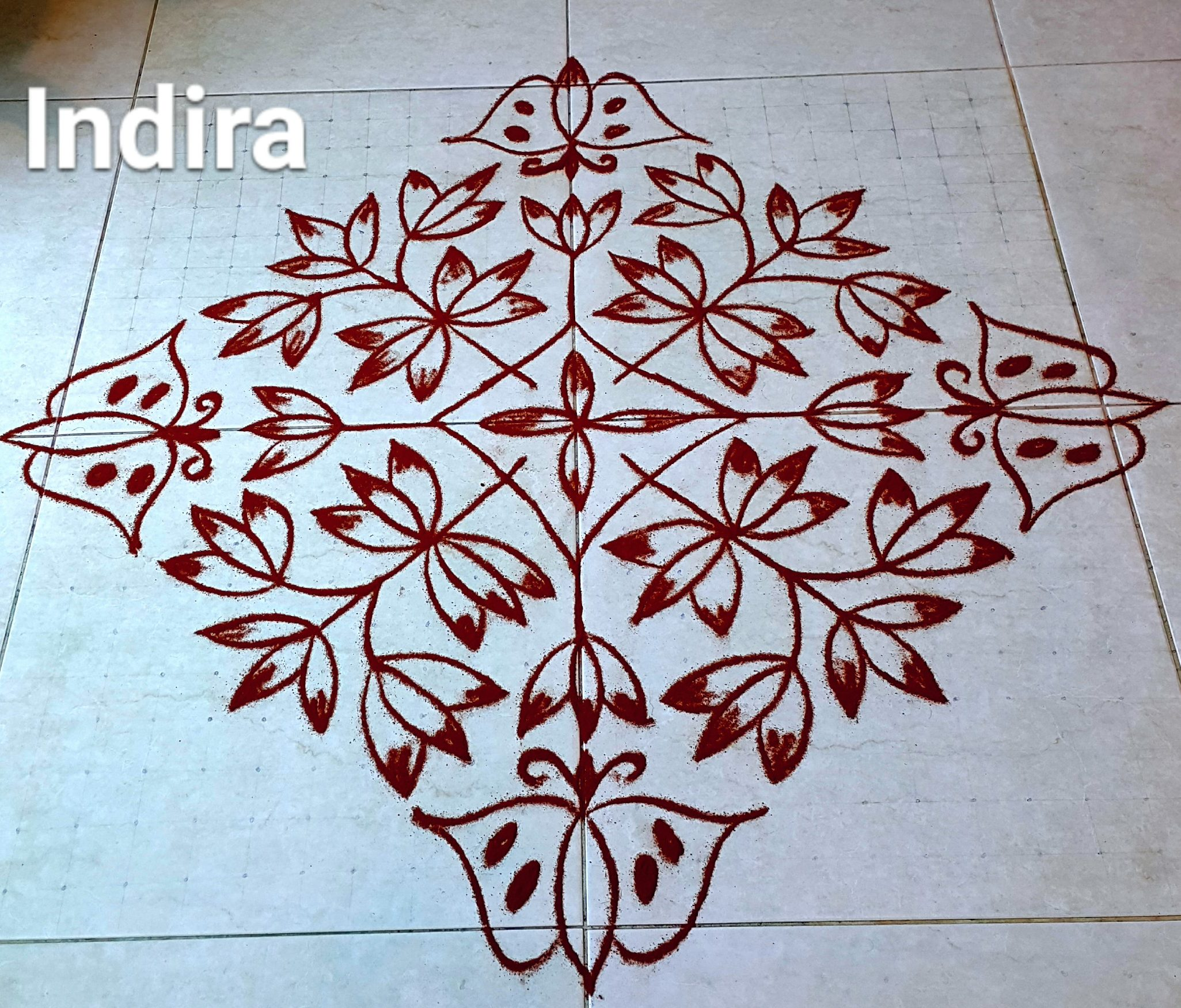 25 Dots Butterfly and flower kolam