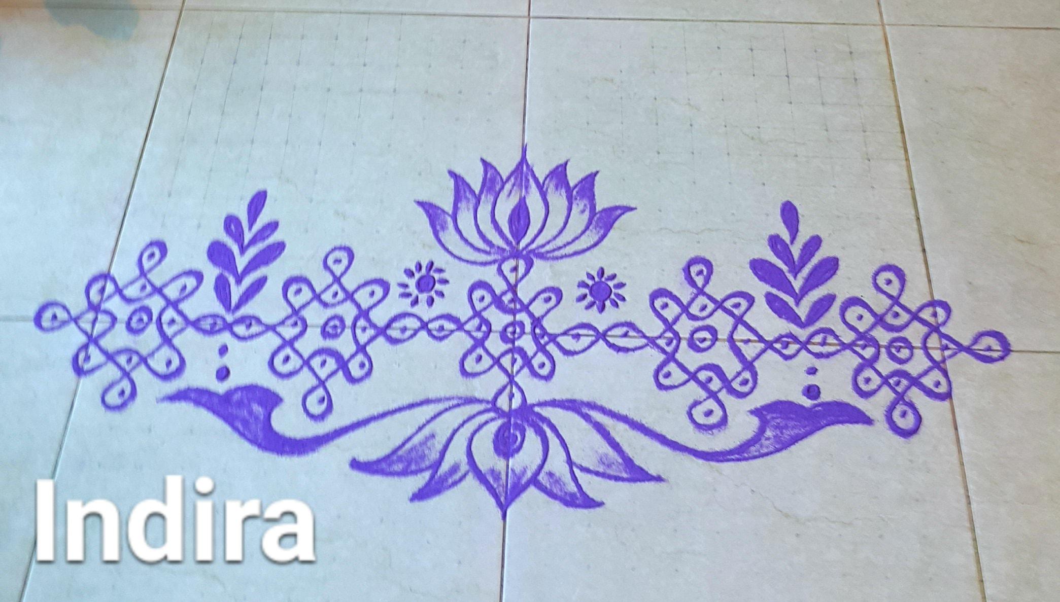 25 Dots Sikku with Lotus Kolam