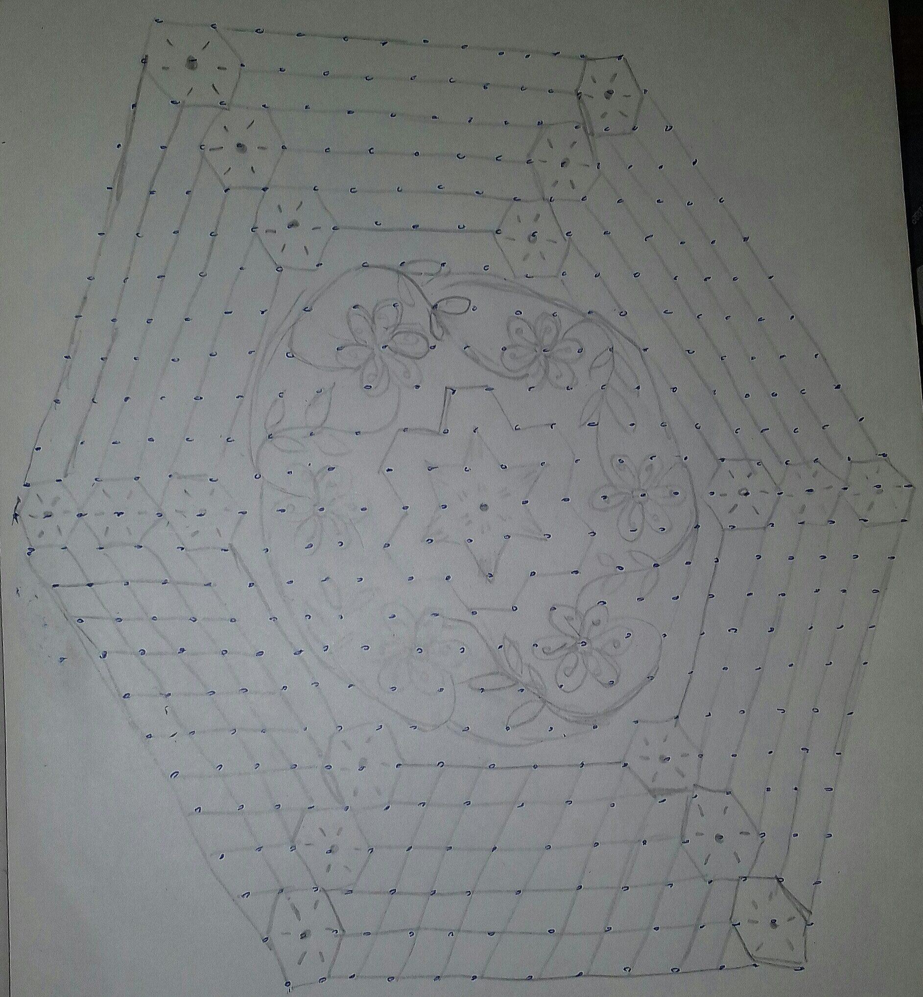 Line kolam with 25 dots    Flower kolam for contest