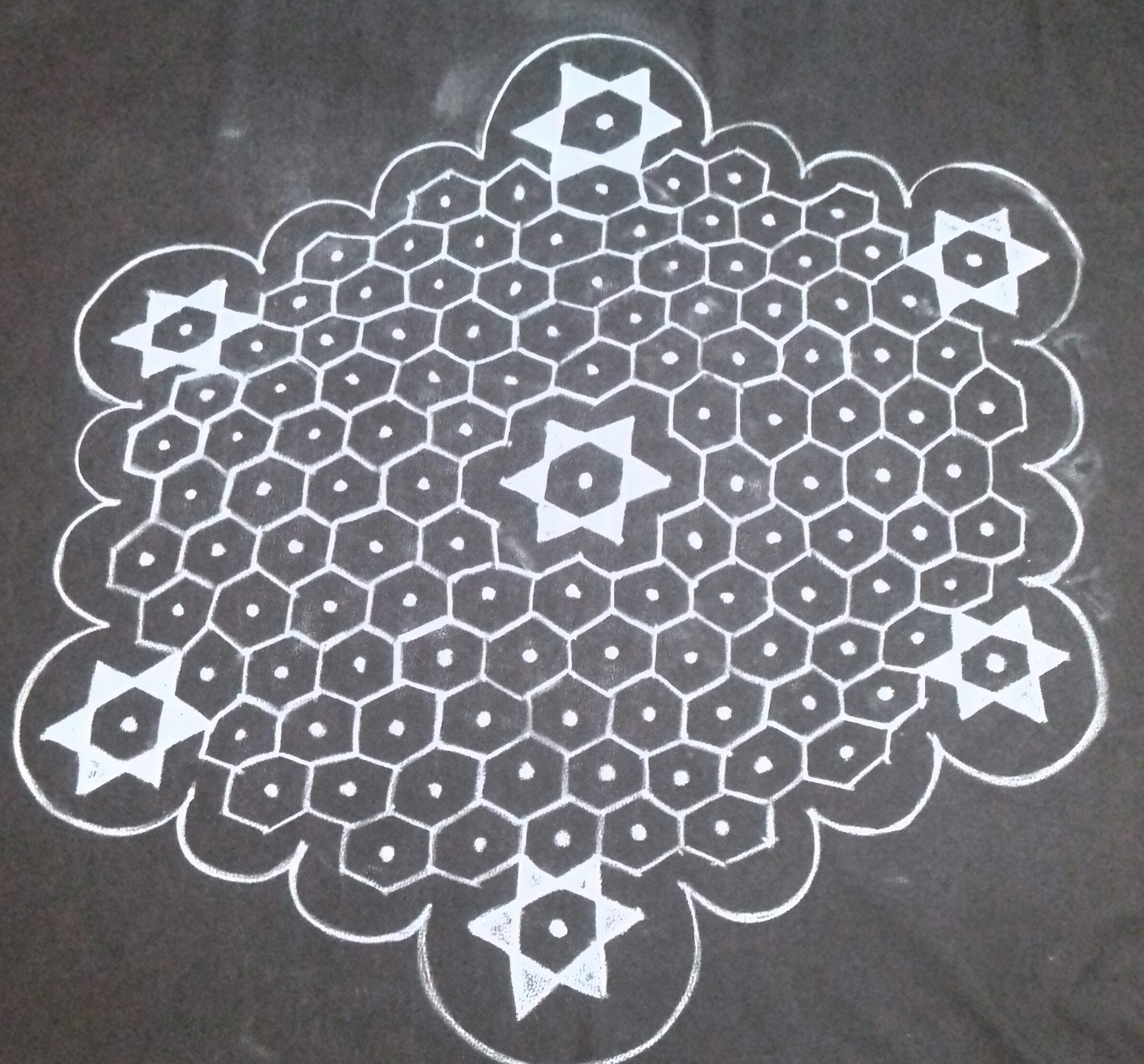 25 Dots Star Kolam    contest kolam