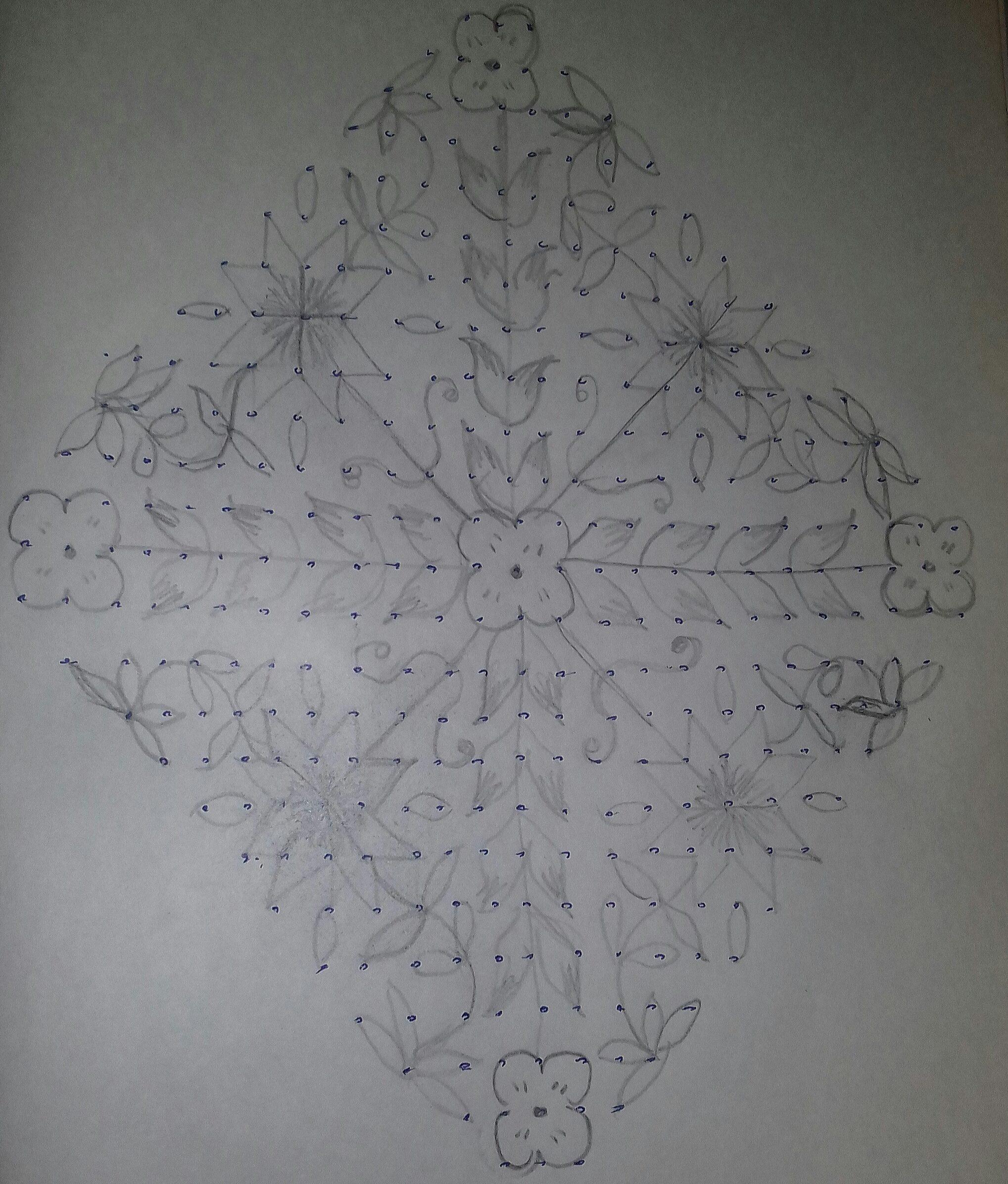 25 dots Flower and Leaves Kolam || Contest Kolam