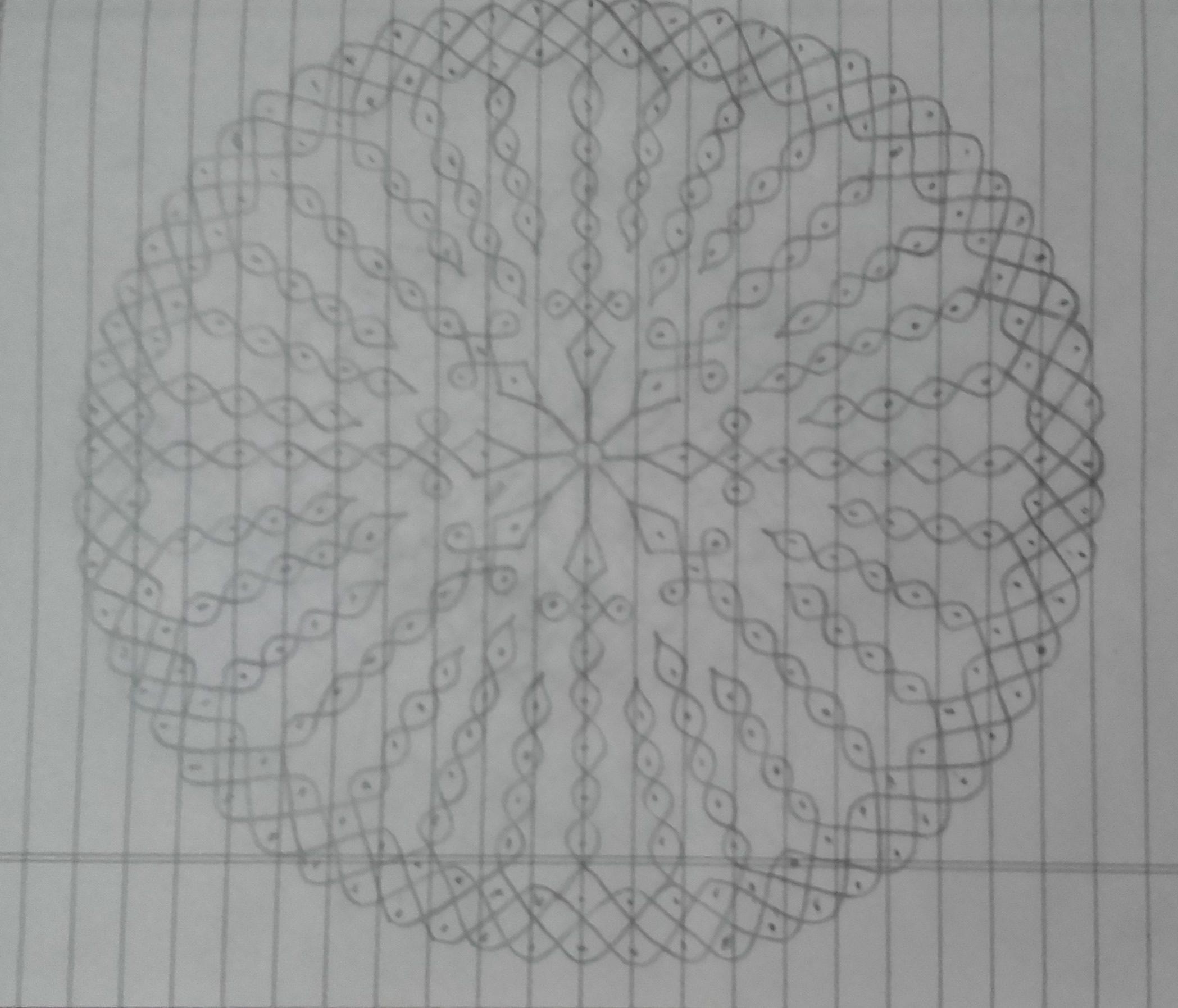 25 dots Sikku Kolam || Round chikku Kolam for Contest