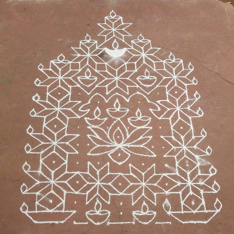 Adukku dheepa Kolam || Lamps with flower kolam || 25 dots contest kolam