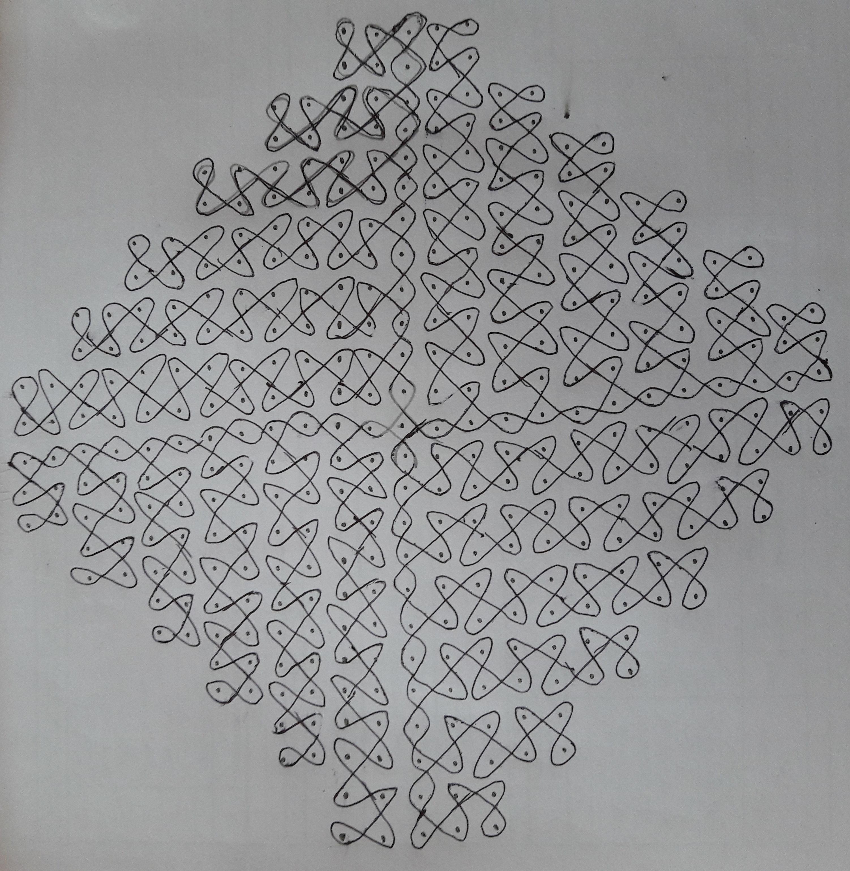 25 dots twisted(sikku)kolam    contest chikku kolam