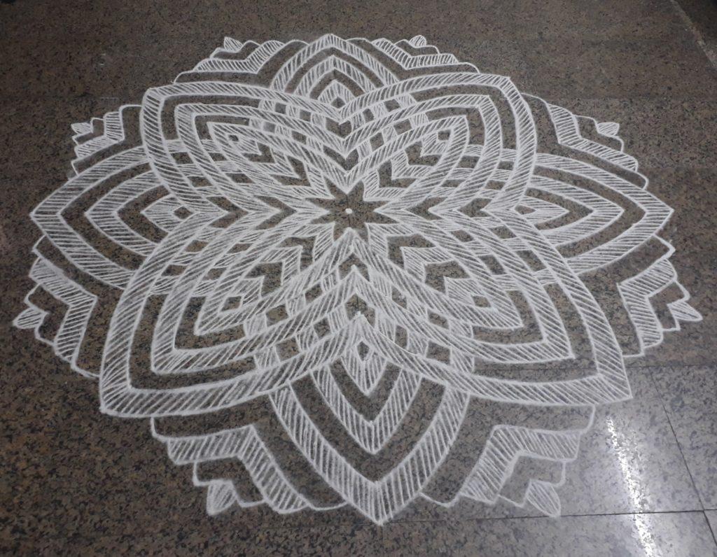 25 Dots contest kolam    Hridhaya Kamala Kolam