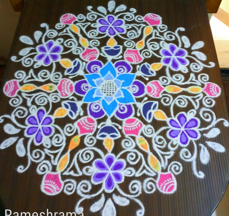 25 dots Deepa kolam || Flower kolam for contest