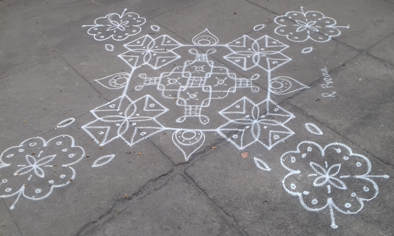 flower, design and small chikku kolam || 25 dots Contest Kolam
