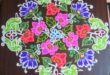 Birds with flowers    25 dots colour flower kolam for contest