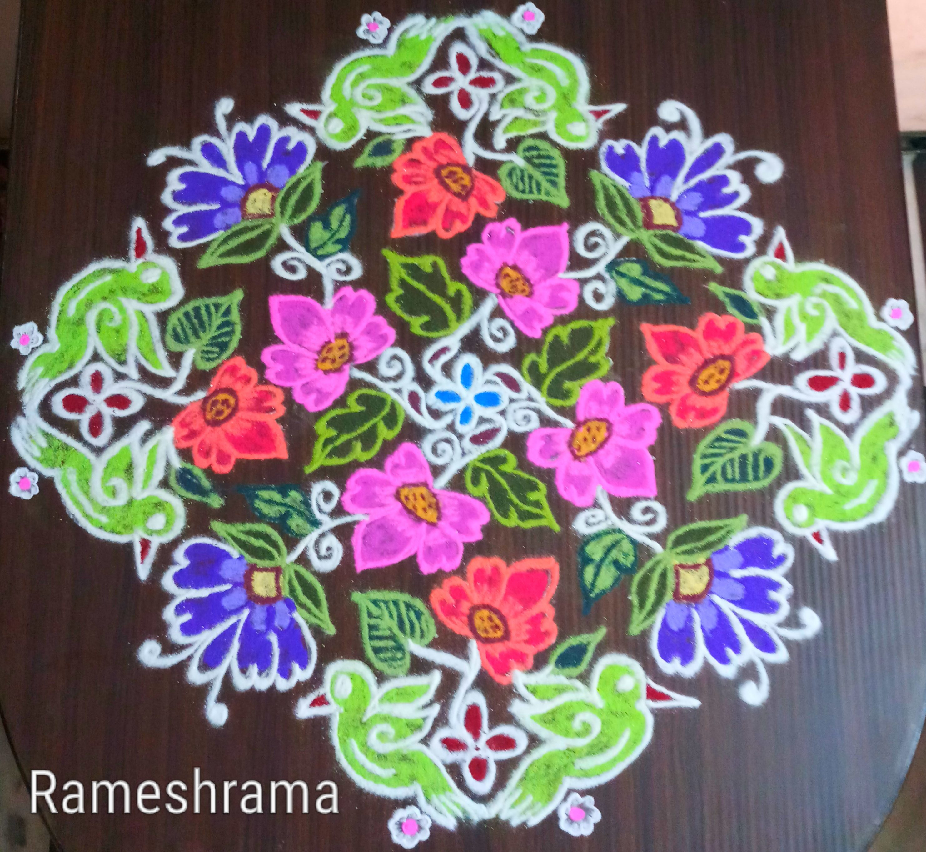 Birds with flowers || 25 dots colour flower kolam for contest