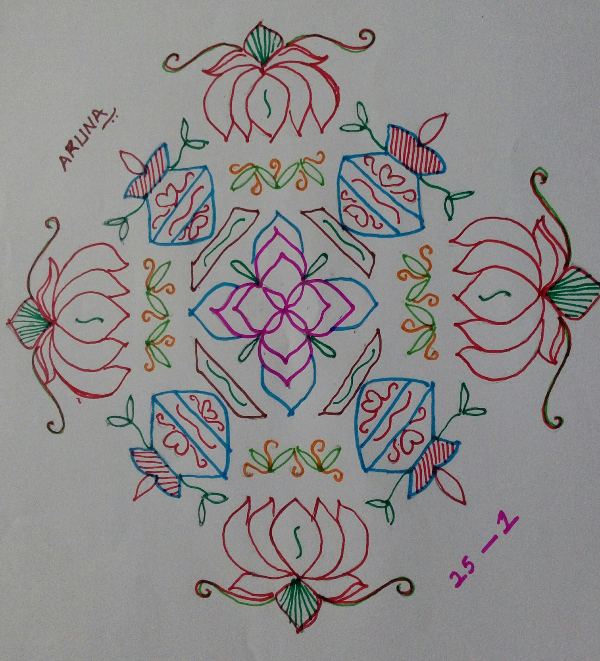 Asta dhala Padma n Laxmi kolam with sikku kolam    25 Dots Contest Kolam