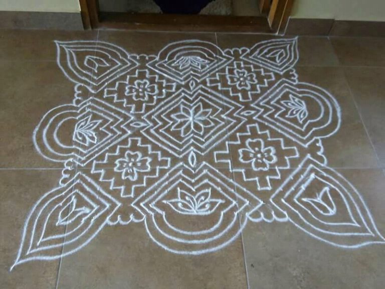 23 Dots Flower kolam || Big carpet kolam in white