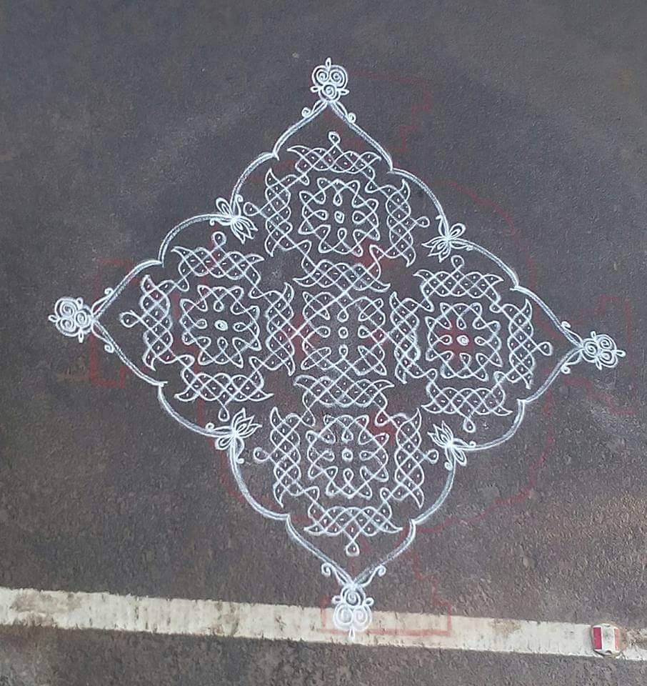 design kolam with 25 dots || 25 dots contest Kolam