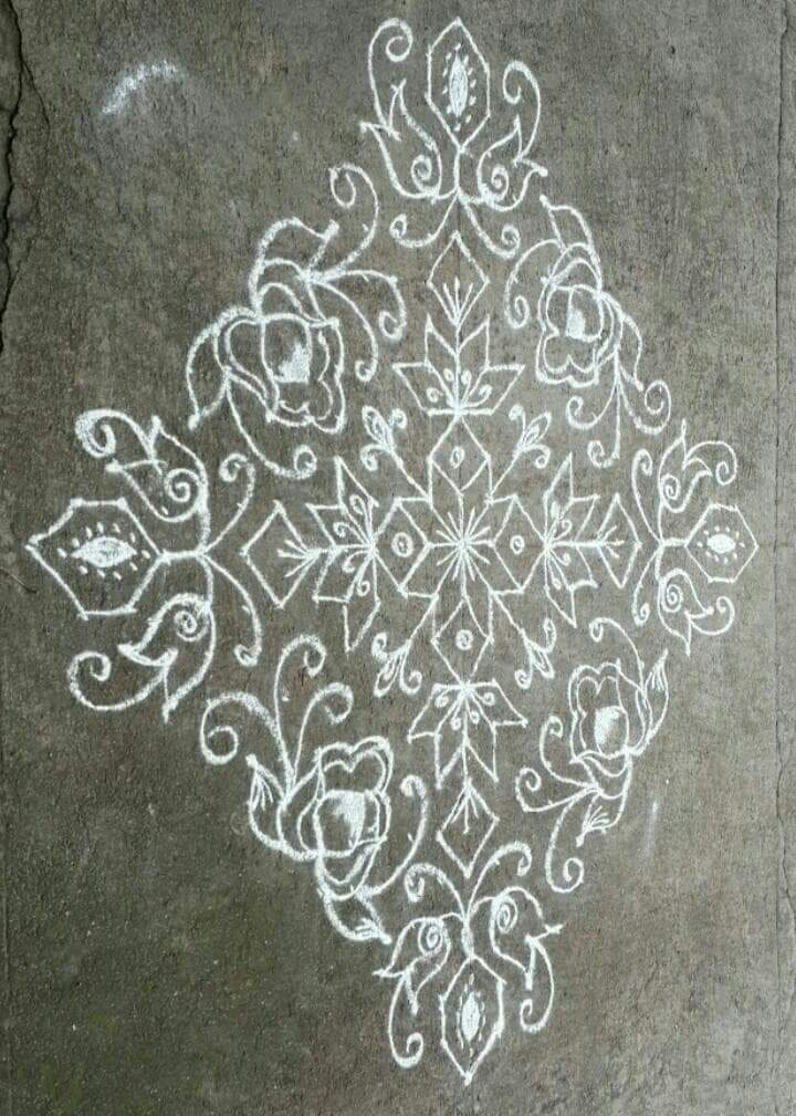 The simplest    25 dots Star Kolam    Contest Kolam