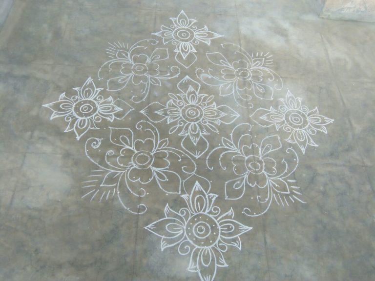 Flower kolam with 25 dots || Contest Kolam