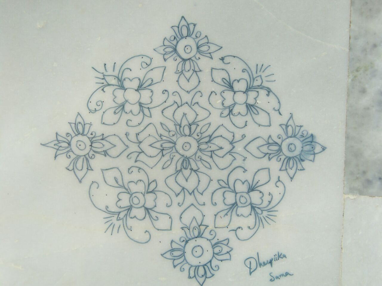 Flower kolam with 25 dots    Contest Kolam