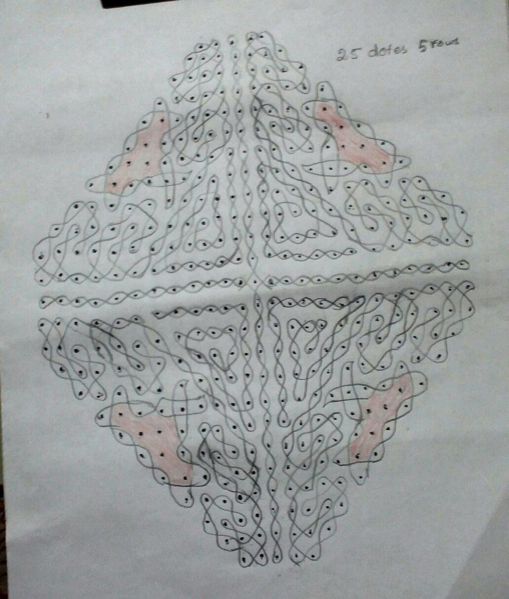 25 dots Chikku section pattern || Contest Kolam