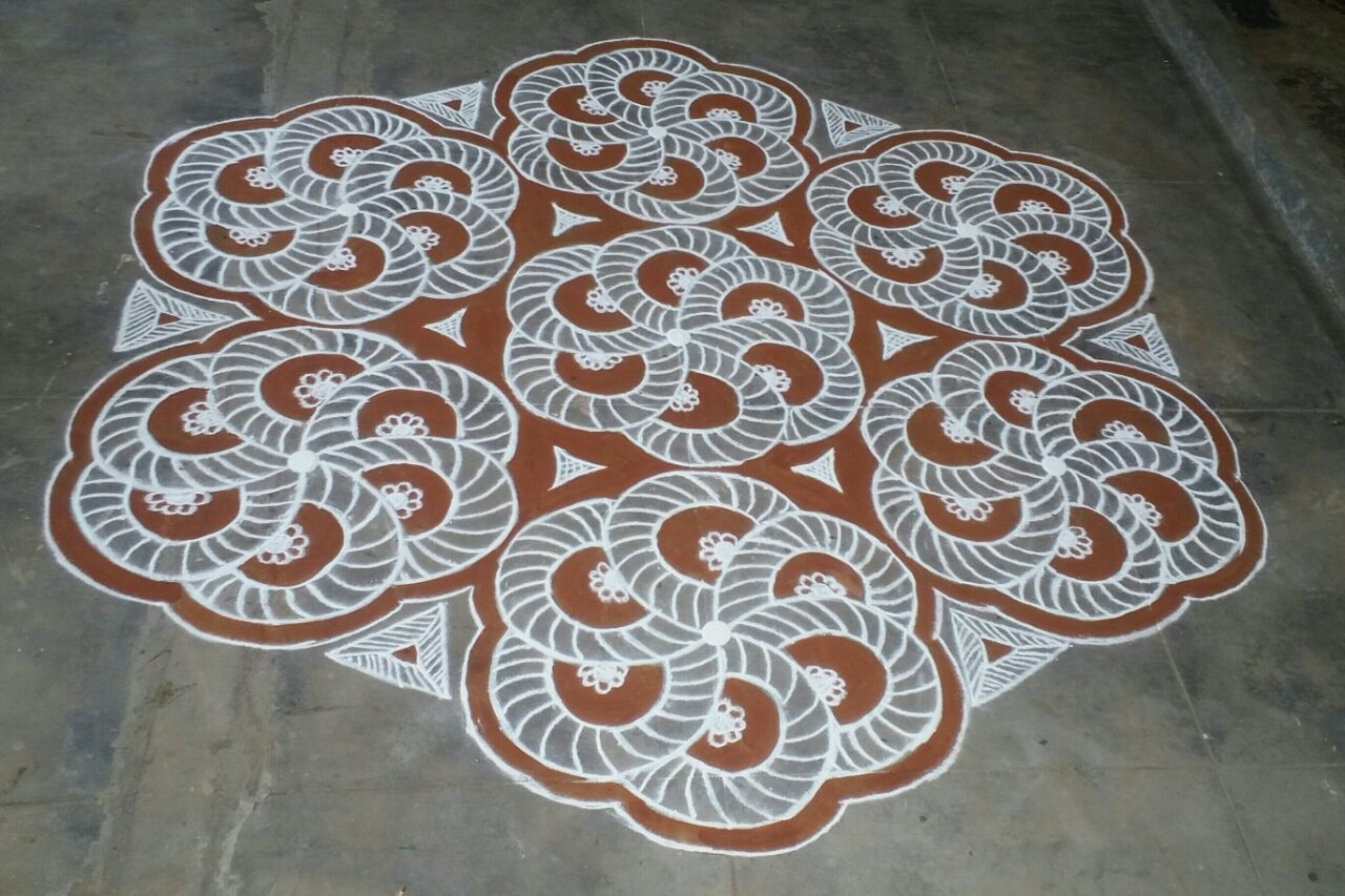25 dots flower design with hexagon pattern || Contest Kolam