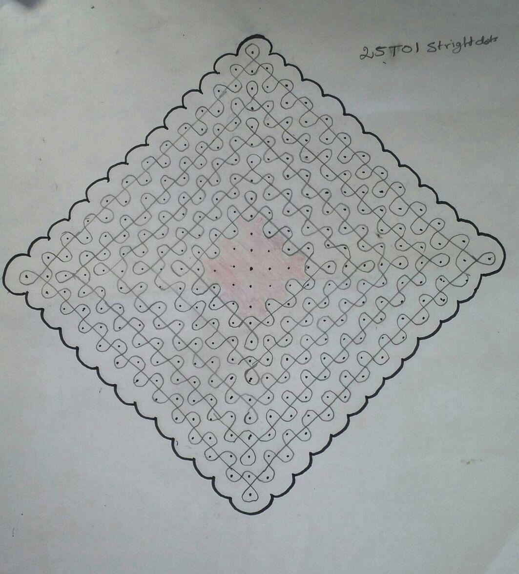 25 dots Chikku waves pattern || contest Kolam