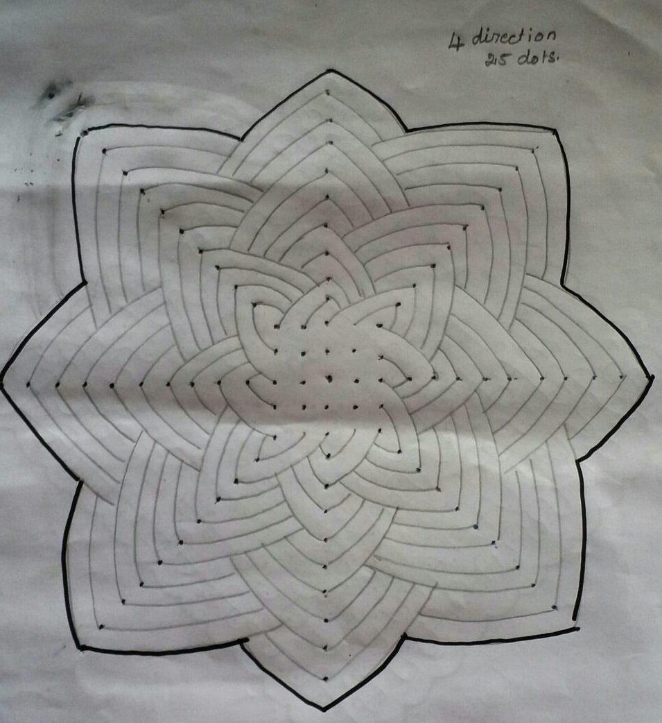25 dots 3d flower kolam ||contest kolam