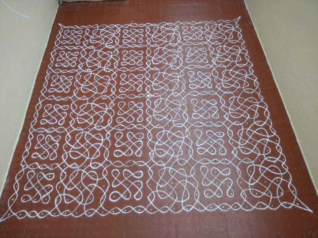 25 Dots Carpet design chikku kolam ||  Sikku Kolam for contest