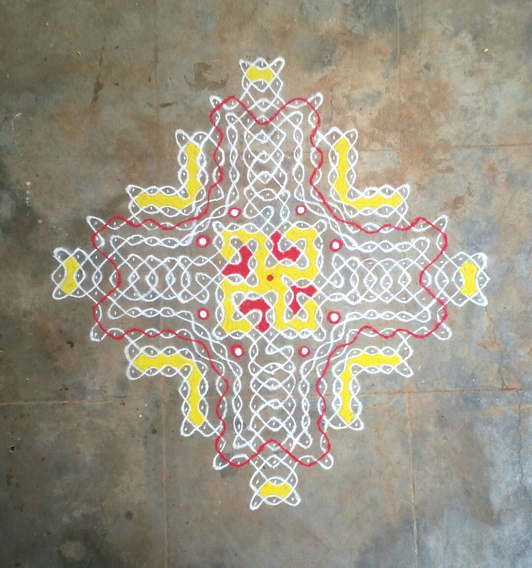 25 dots Chikku with thread design || Contest Kolam