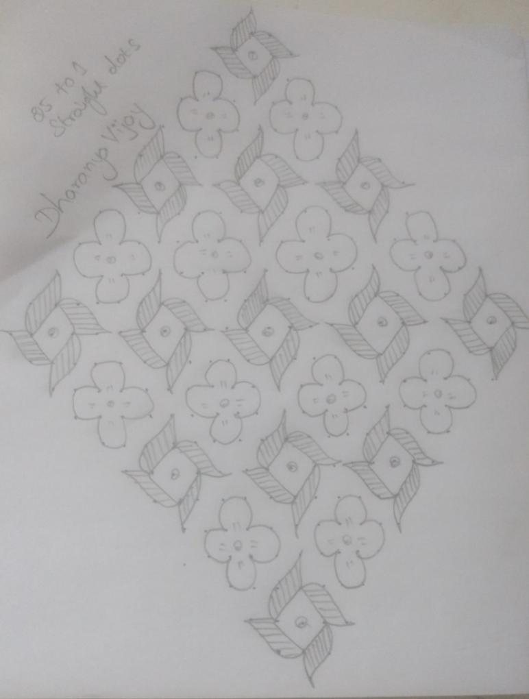 Simple flower kolam    25 dots Contest kolam