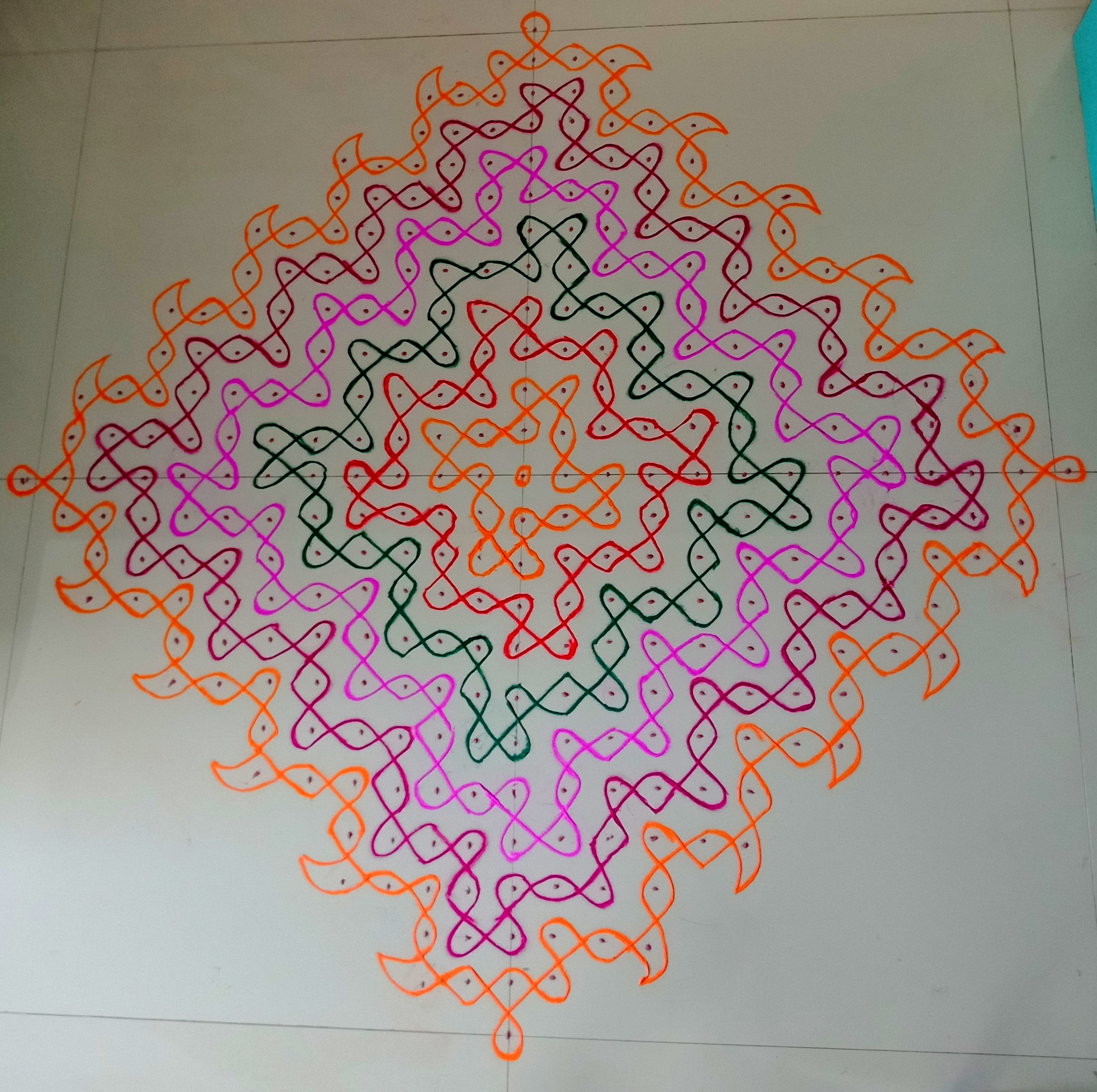 Colourful Curls || 25 Dots Sikku Kolam for contest