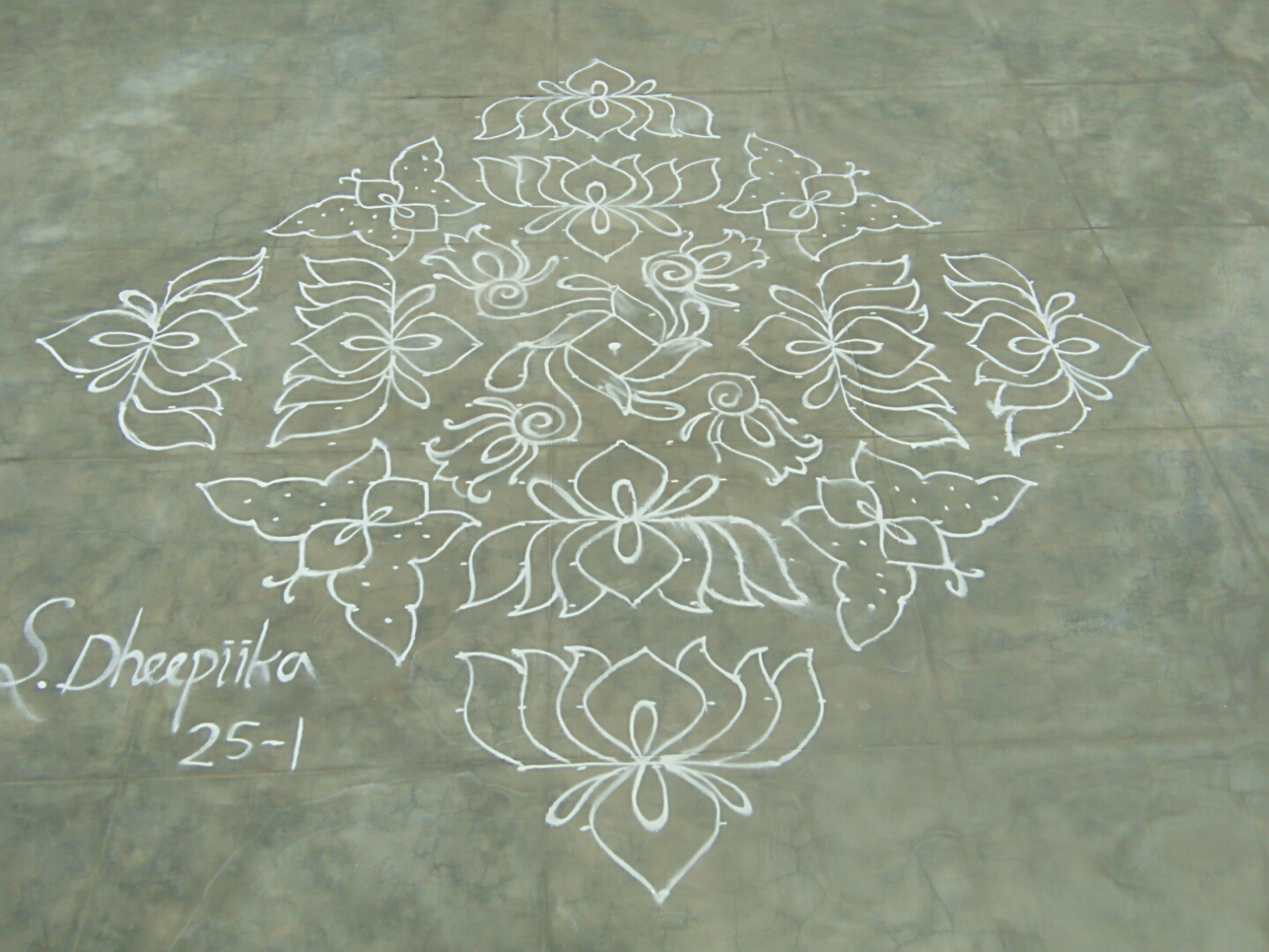 25 dots lotus and butterfly kolam