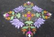 Lotuses and lamps || 25 dots contest Kolam