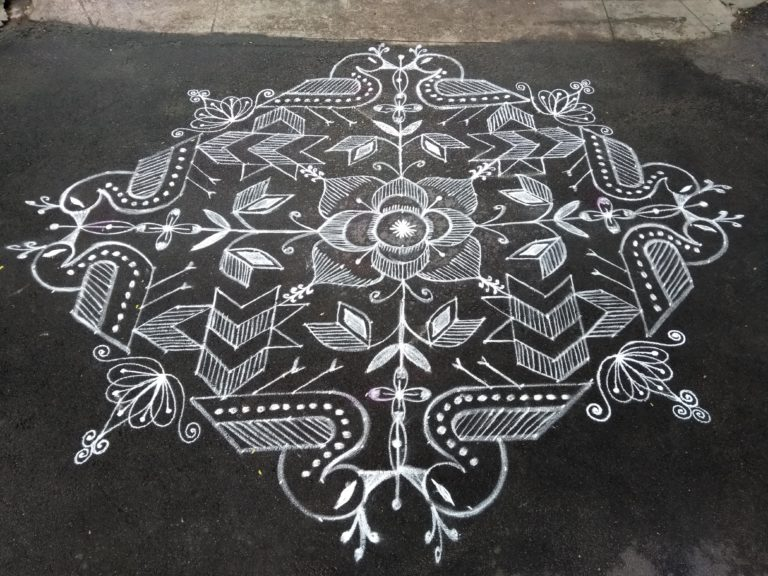 Peacock and flowers    25 dots Contest Kolam