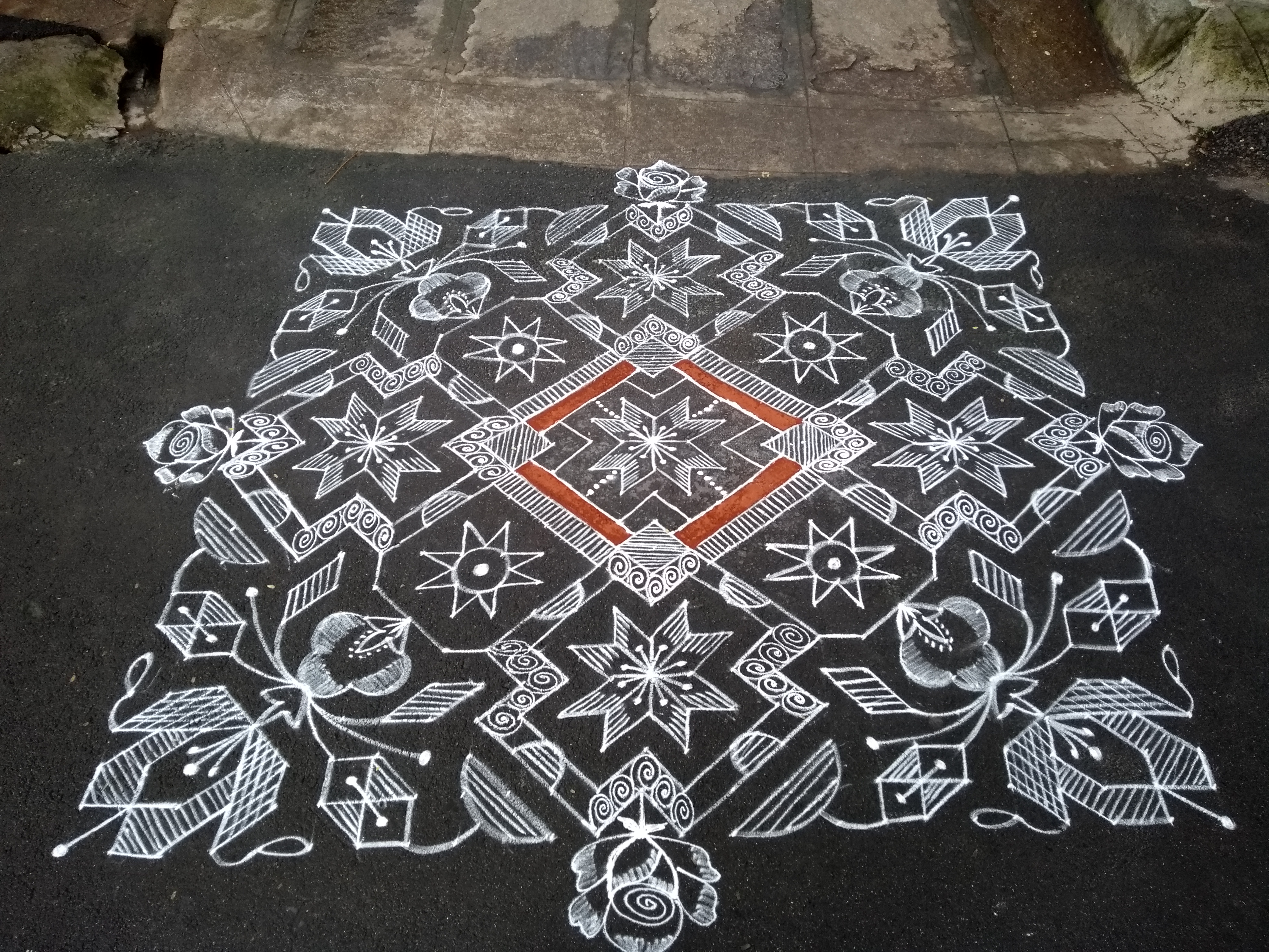 Geometric pattern || 25 dots Flower kolam for contest