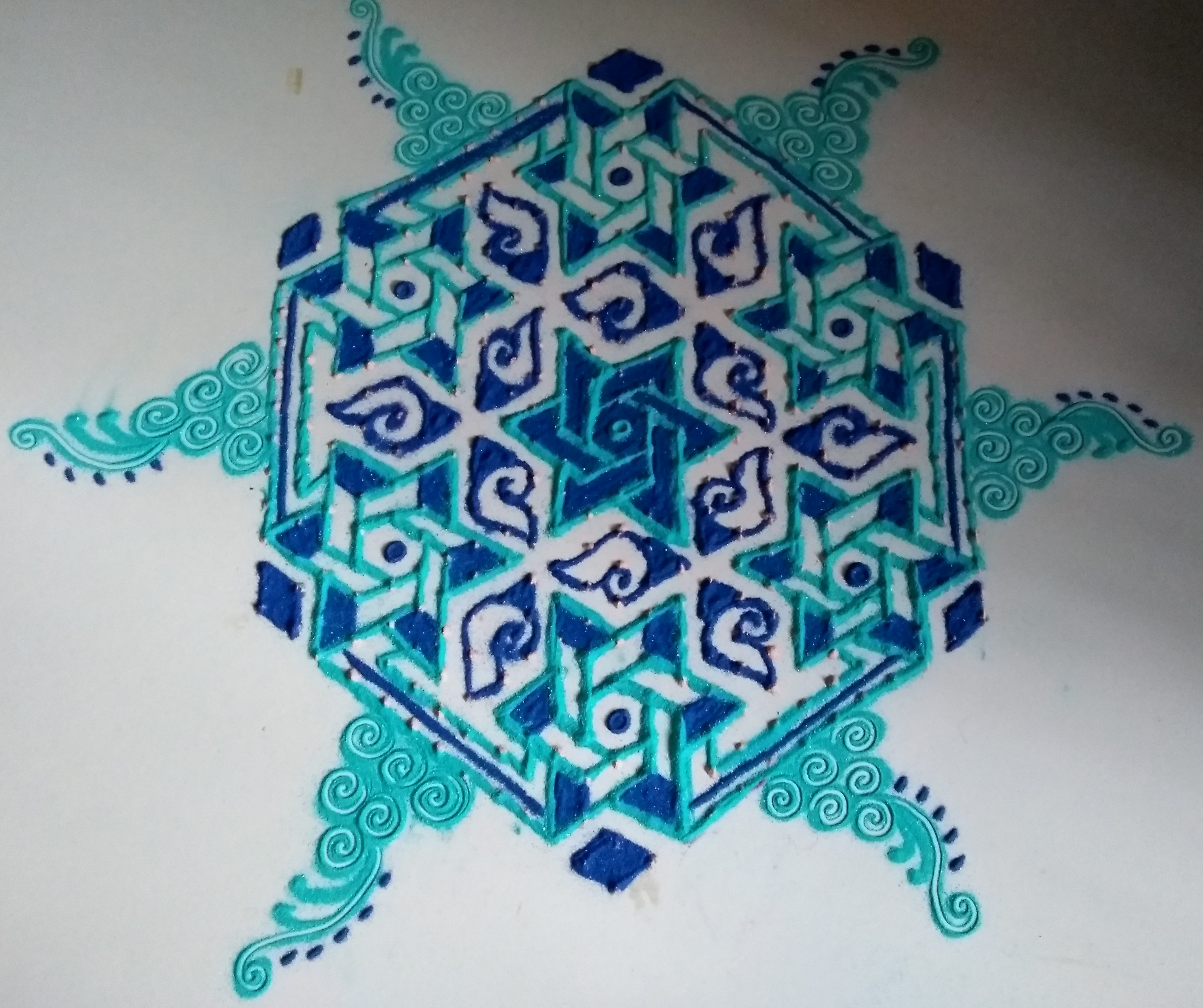 Conch and stars || 25 dots contest Kolam