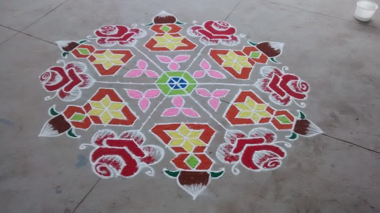 Roses and Kalasha || 25 dots contest Kolam