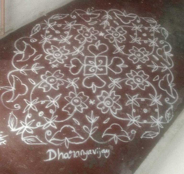 Adukku flower kolam || 25 Dots Flower Kolam for contest