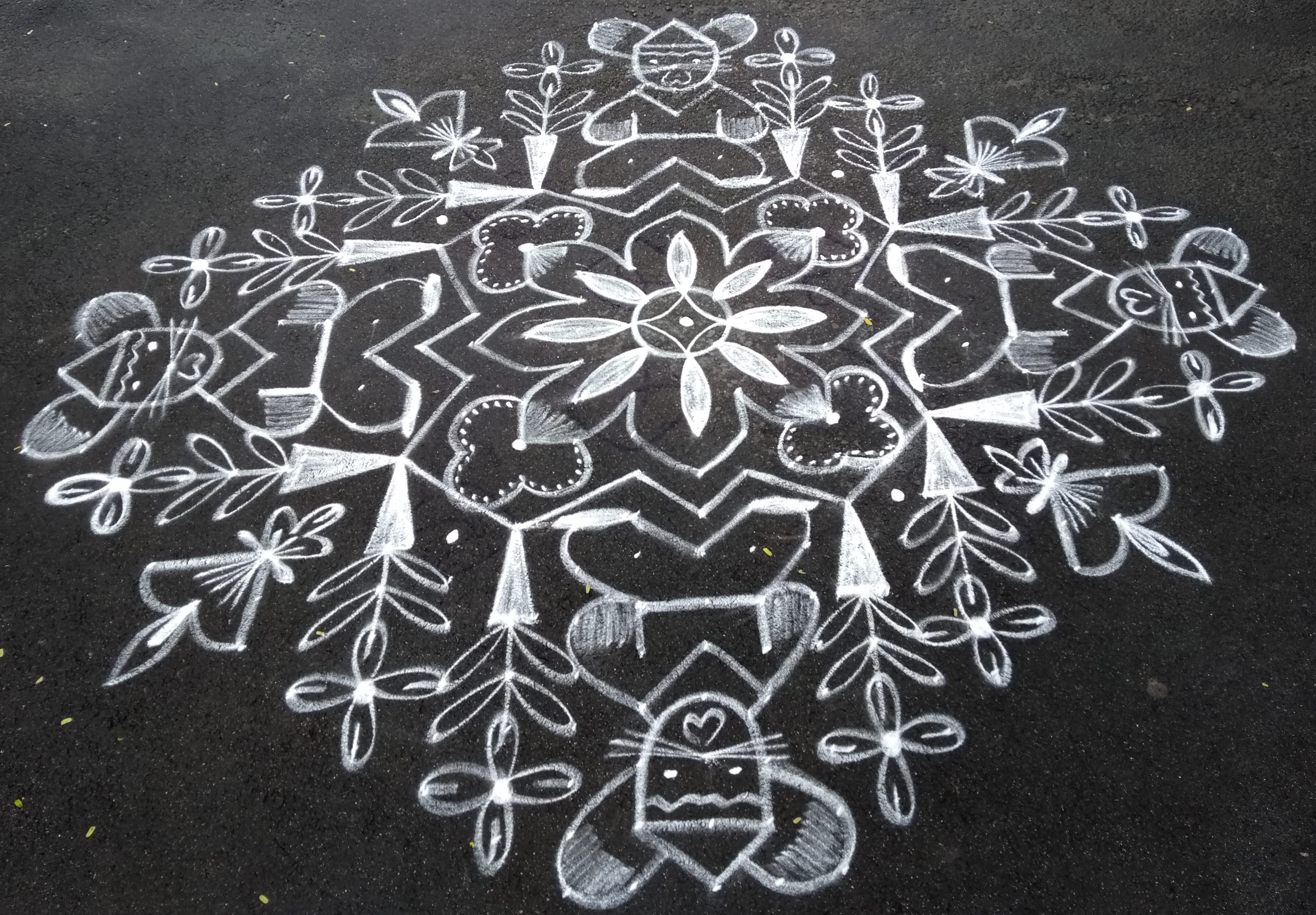 Cats and flowers || 25 dots Contest Kolam