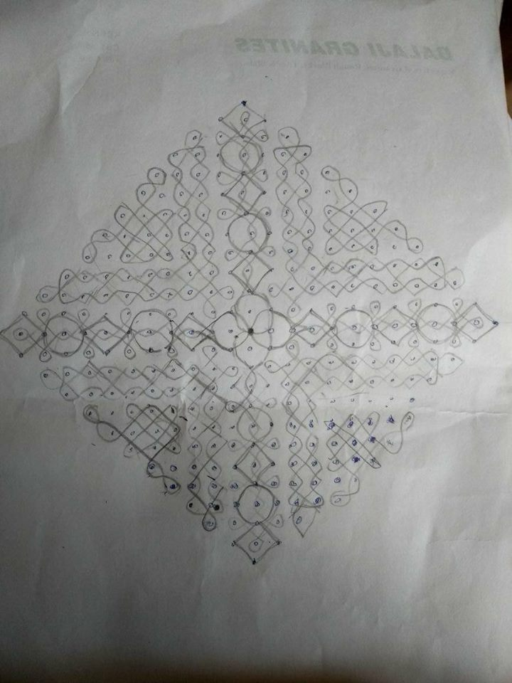25 Dots Colour Sikku kolam for Contest