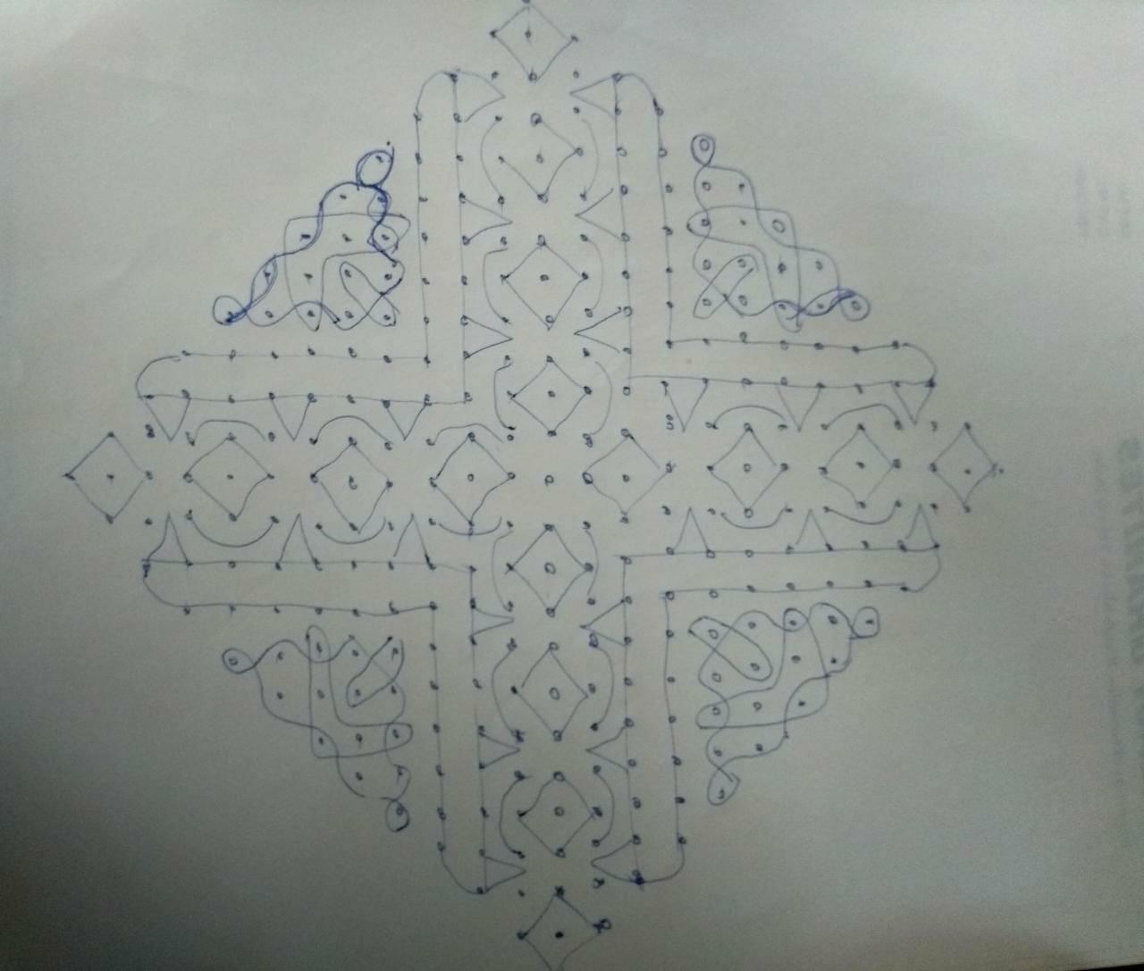 Simple chikku kolam    Contest Kolam with 25 Dots