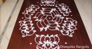 Beautiful lotus Rangoli design with 15*8 dots