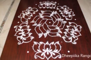 Beautiful lotus Rangoli design with 15*8 dots